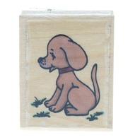 Stamp Affair Puppy Dog Sitting in the Grass Wooden Rubber Stamp