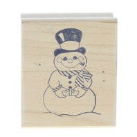 Great Impressions Happy Snowman with Gift Wooden Rubber Stamp