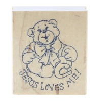 Art Impressions Jesus Loves Me Teddy Bear Wooden Rubber Stamp
