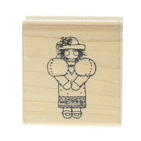 DOTS Little Girl with a Hat Wooden Rubber Stamp