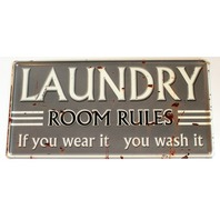 Laundry Room Rules You Wear it You Wash it Metal Sign Pub Game Room Bar