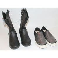 UGG Shoe NEW Justice Western Boot Girls Youth Lot Sz 4 Fur Sparkle