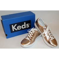 Keds New Youth Girls Sz 6 Shiny Rose Gold Ace Tie Sneakers Box