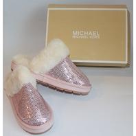 Girls New Michael Kors Youth Sz 5 Light Pink Fur Sequin Slippers