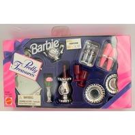 Barbie 1995 Sparkling Dining Room Dishes Wine Napkins Set in Original Box