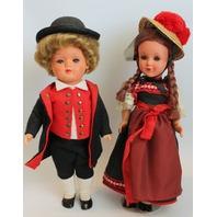 Vintage Boy and Girl Hungarian Russian Austrian HD Marking Hard Plastic Dolls