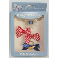 Muffy Vanderbear Clothesline Collection Boxed Teddy Bear Heads up Hair Bow Set