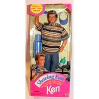 NIB-1994-SHAVING FUN KEN DOLL-COMPLETE-ALL ACCESSORIES-REAL HAIR-SHAVING CREAM!