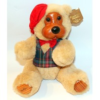 Raikes Jointed Wooden Faced Papa Teddy Bear with Red Tam New with Ear Tag