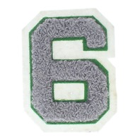 High School Letterman Jacket number 6 Green and Grey Uniform Patch