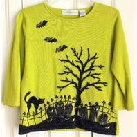 Marisa Christina Womens Sz M Lime Halloween Sweater Sequins Bats