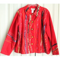 Cold Water Creek Womens Sz PL Red Embellished LS Jacket