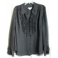 Woman Plus Sz 3X Coldwater Creek Black Sheer LS Button Up Ruffles Top