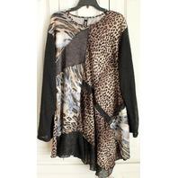 Diva D Sweater Plus LS Lagen Look 4xl Leopard Cheetah