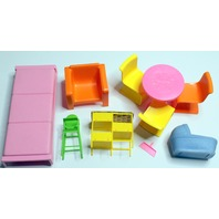 Vintage Barbie Doll Dreamhouse Furniture Lot Bed Table Chairs