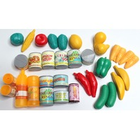"""Lot of Grocery Store Play Food Canned and Veggies Great for 18"""" Sized Dolls"""