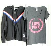 Victorias Secret Pink Sz XS Hoodie & Shirt Black Sequins Lot