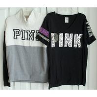 Victorias Secret Pink Lot Sz S LS Zip Top & XS T Shirt