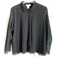 Susan Bristol Womens Plus Sz 3W Black Lace Button Up Top