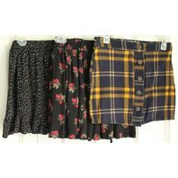 Teens Women Lot of 3 Skirts Sz XS & S Plaid Flower Dot