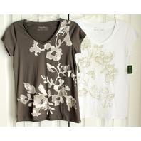 Eddie Bauer NWT Lot/2 Sz S Womens T shirts White Gray