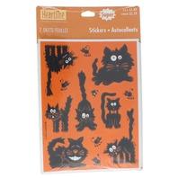 Vtg Hallmark Halloween Fuzzy Fraidy Black Cat Stickers 1 Pkg w/ 2 Sheets