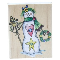 Hero Arts Folk Snowman with a Birdhouse Wooden Rubber Stamp