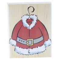 Hero Arts Santa's Snowman Coat Suit  Wooden Rubber Stamp
