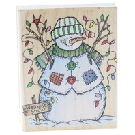 Hero Arts Snowman with Lights E1264 Welcome Snow Sign  Wooden Rubber Stamp
