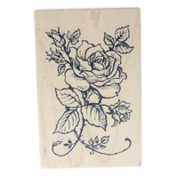 PSX G-1180 1994 Elegant Rose Bloom with swirls Wooden Rubber Stamp