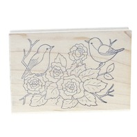 Great Impressions Birds among the Rose Bush G111 Wooden Rubber Stamp