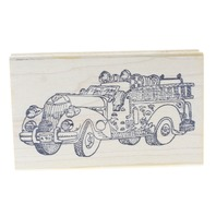 Inkersaway Inkers-a-way Vintage Fire Truck Wooden Rubber Stamp