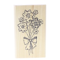 DJ Inkers Whimsical Flower Patch with a Bow Wild Flowers M16 Wooden Rubber Stamp
