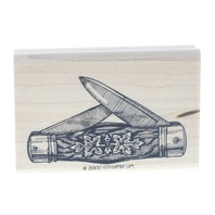 Stampin Up 2000 Pocket Knife with leaves Wooden Rubber Stamp
