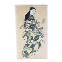 Rubber Stampede Japanese Leaf Girl in Komono Wooden Rubber Stamp