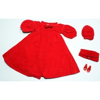 Vintage Barbie Doll Original Red Flare Coat Hat Purse Shoes Set Outfit