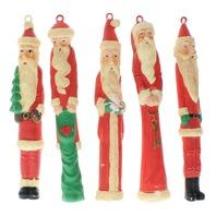 Lot of 5 Vintage Plastic Taper Style Santa Claus Ornaments