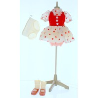Vintage 1970's Shirley Temple Velveteen and Polka-dot Dress Shoes and Socks