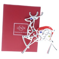 Lenox Jeweled Sparkle and Scroll Reindeer Holiday Christmas Ornament Box