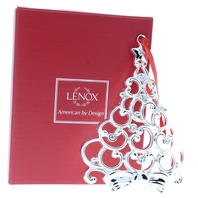 Lenox Clear Sparkle and Scroll Tree Holiday Christmas Ornament Box