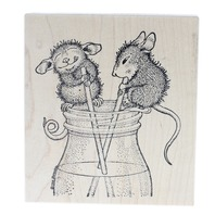 Stampabilities House Mouse Designs Sharing a Drink Wooden Rubber Stamp