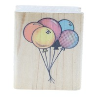 All Night Media Balloon Cluster Happy Birthday Celebrate Wooden Rubber Stamp