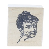 Stamptastic Bust of a Woman's Face Head Wooden Rubber Stamp