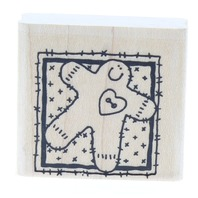 Stampin Up Gingerbread Cookie Man Block Wooden Rubber Stamp