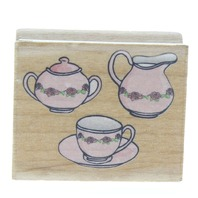 Afternoon Tea Pot Cup Pitcher Food  Wooden Rubber Stamp