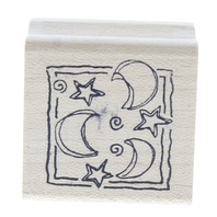 Magenta Made in Canada Moon and Stars Celestial Wooden Rubber Stamp