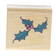 Comotion Holly and Berries Berry Cluster Wooden Rubber Stamp