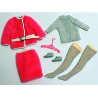 Vintage Barbie Snug Fuzz 1968-1969 Pink Fur Coat and Skirt Stockings Set Outfit