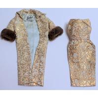 Vintage Evening Splendor Barbie Doll Brocade Sheath and Coat Outfit Set #961