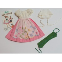 Vintage Barbie in Switzerland Doll Dress Outfit Set Green Corset 1964 Accessory